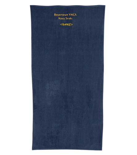 Boyertown YMCA Navy Seals - Royal Comfort Terry Velour Beach Towel 32 X 64