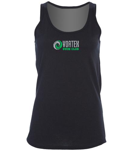 Women's Large Black Tank Top with Vortex Logo - SwimOutlet Women's Cotton Racerback Tank Top