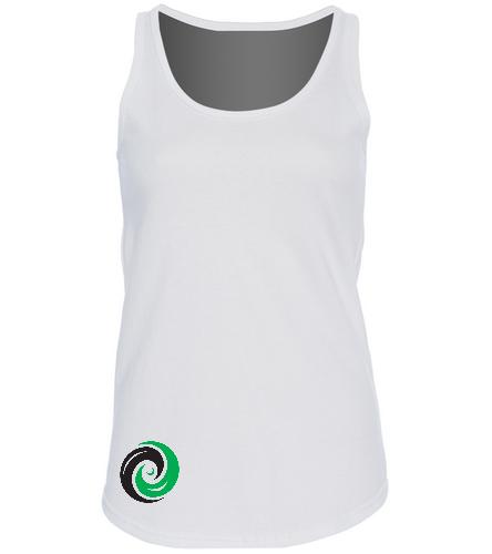 Women's White Tank Top with Vortex logo bottom corner - SwimOutlet Women's Cotton Racerback Tank Top