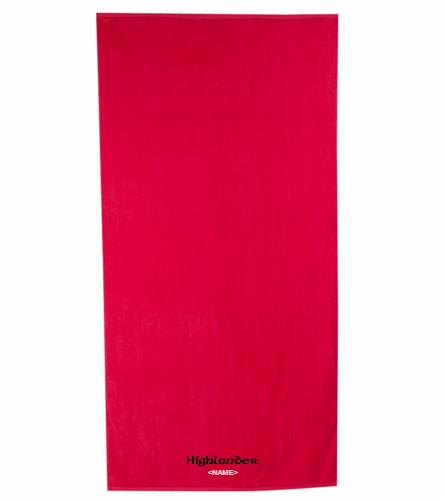 Highlander Red - Royal Comfort Terry Velour Beach Towel 32 X 64
