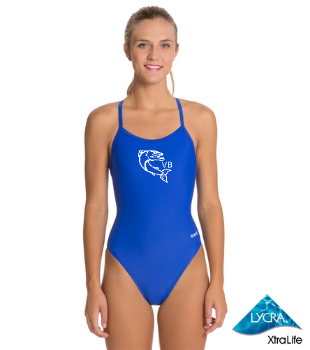 Sportilogo - Sporti Solid Thin Strap One Piece Swimsuit