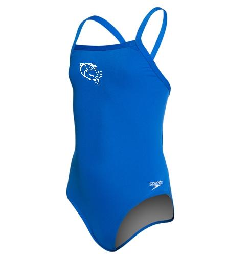 Youth Logo 1 - Speedo Girls' Solid Endurance + Flyback Training Swimsuit