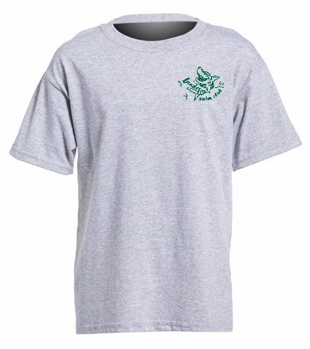 LSC Youth Grey Shirt Small Green Logo - SwimOutlet Youth Cotton Crew Neck T-Shirt