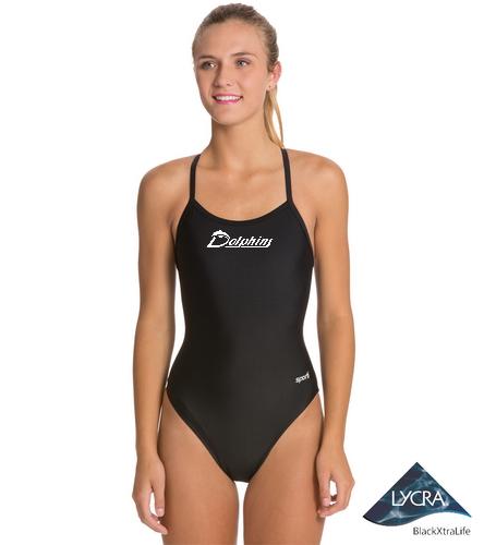 Sporti Thin Strap - logo - Sporti Solid Thin Strap One Piece Swimsuit