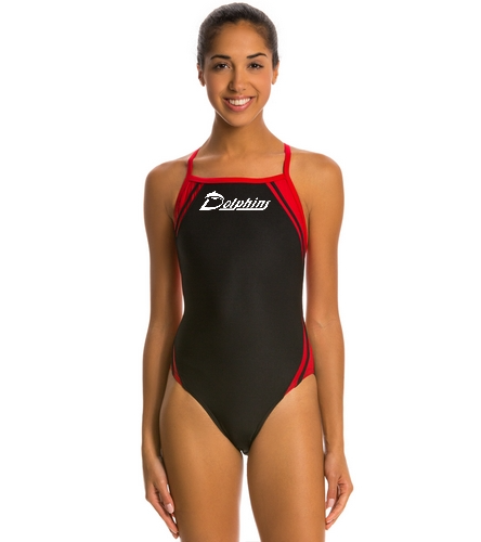 PAC Dolphins - Waterpro Poly Splice Thin Strap One Piece Swimsuit
