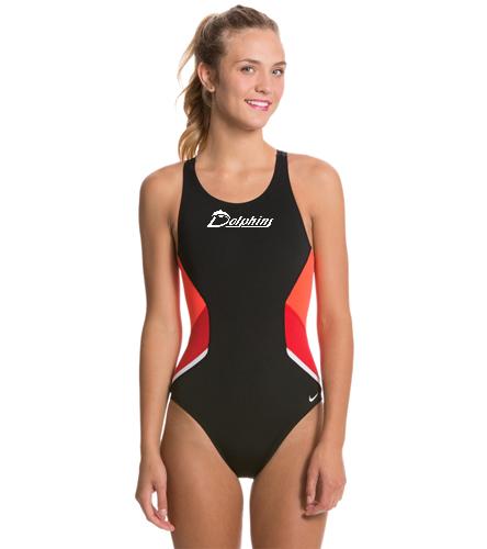 PAC Dolphins - Nike Swim Poly Team Splice Fast Back Tank One Piece Swimsuit