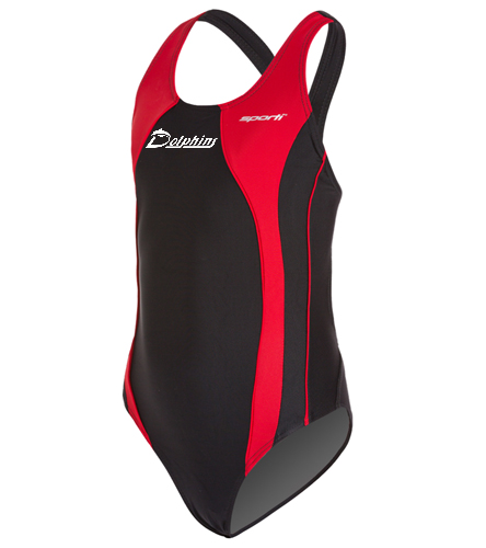 Wide Strap Piped Youth - logo - Sporti Piped Splice Wide Strap One Piece Swimsuit Youth (22-28)
