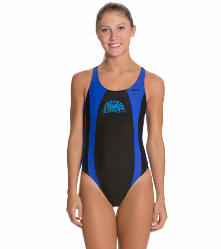 Hialeah Team Suit - Sporti Piped Splice Wide Strap One Piece Swimsuit