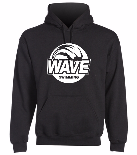 Wave Black with white logo -  Heavy Blend Adult Hooded Sweatshirt