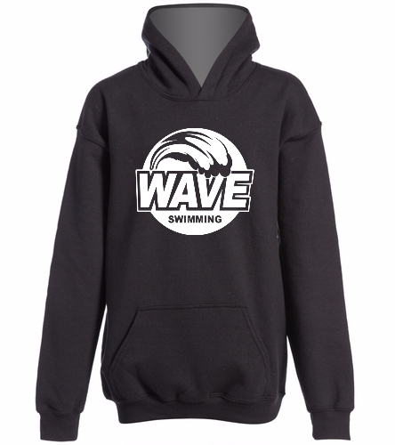 Wave Black with white logo  -  Heavy Blend Youth Hooded Sweatshirt