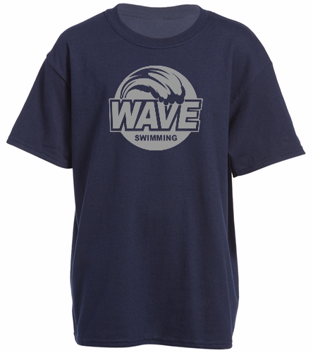 Wave Blue and Gray logo - Heavy Cotton Youth T-Shirt