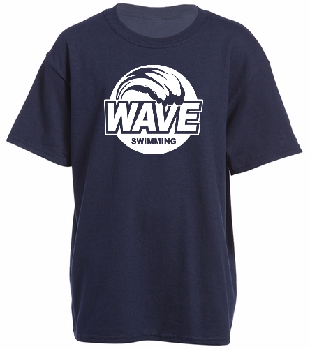 Wave Blue with white logo - Heavy Cotton Youth T-Shirt