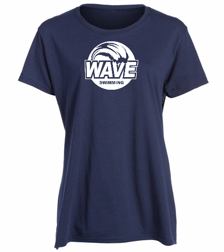 Wave Blue with white logo -  Heavy Cotton Missy Fit T-Shirt