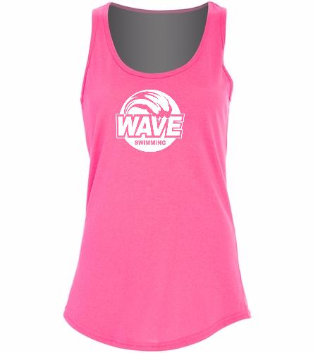 Wave pink with white logo - Ladies 5.4-oz Cotton Tank Top