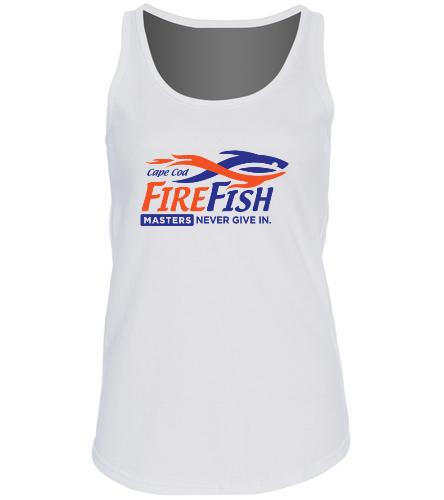 FireFish Masters Ladies White Tank - SwimOutlet Women's Cotton Racerback Tank Top