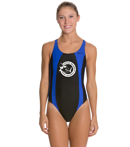 Little Sharks wide strap - Sporti Piped Splice Wide Strap One Piece Swimsuit