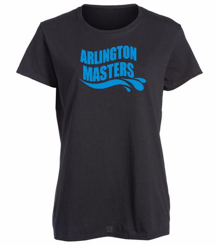 Arlington Masters Swim Team - Black T-Shirt - SwimOutlet Women's Cotton Missy Fit T-Shirt