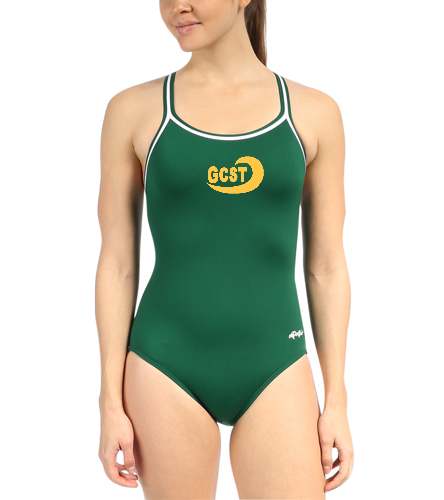 GCST Solid Green - Dolfin Poly Solid DBX Back One Piece Swimsuit