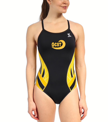 Black and gold geometric - TYR Women's Phoenix Splice Diamondfit One Piece Swimsuit