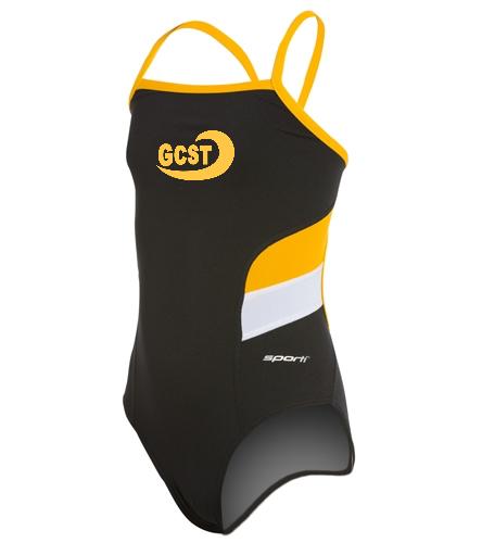 Blk/yellow sporti - Sporti Poly Pro Splice Thin Strap One Piece Swimsuit Youth (22-28)