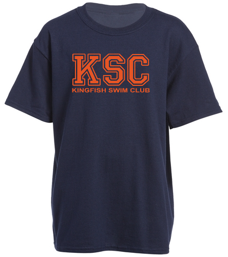 Youth Navy KSC Logo T Shirt - SwimOutlet Youth Cotton Crew Neck T-Shirt