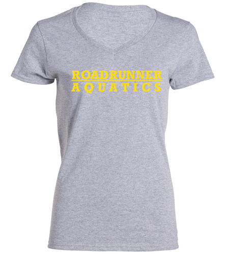 Roadrunner Aquatics Ladies V-Neck  - SwimOutlet Women's Cotton V-Neck T-Shirt