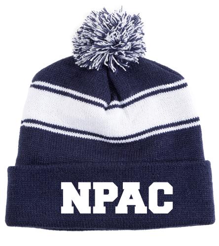 NPAC hat - SwimOutlet Stripe Pom Pom Beanie