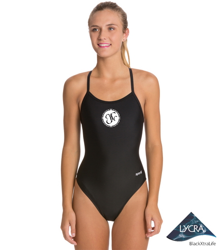 CSC - Sporti Solid Thin Strap One Piece Swimsuit