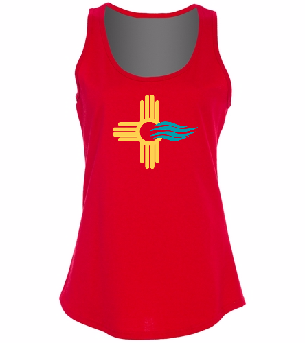 New Mexico Swimming  - SwimOutlet Women's Cotton Racerback Tank Top
