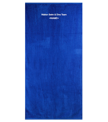 Walton's Swim & Dive w/ Peronalized Name Embroidered  - Royal Comfort Terry Velour Beach Towel 32 X 64