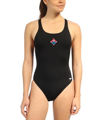 Walton Swim & Dive Girls Color Heat Press Diamond Logo - Speedo Women's Solid Endurance+ Super Proback One Piece Swimsuit