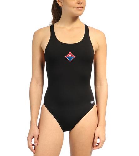Walton Swim & Dive Heat Press Diamong Logo on - Speedo Women's Solid Endurance+ Super Proback One Piece Swimsuit