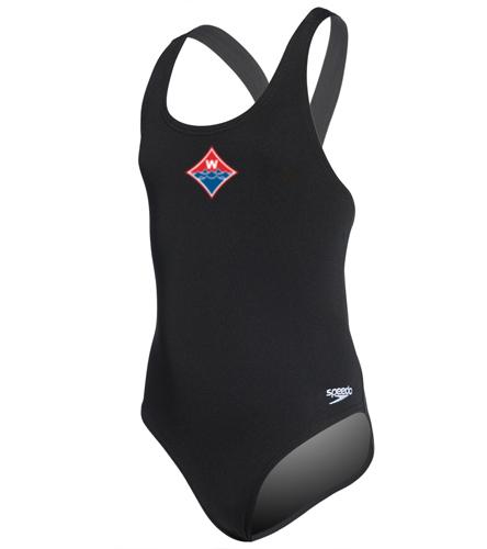 Walton Swim & Dive Heat Press Diamong Logo on - Speedo Solid Endurance Super Proback Youth Swimsuit Swimsuit