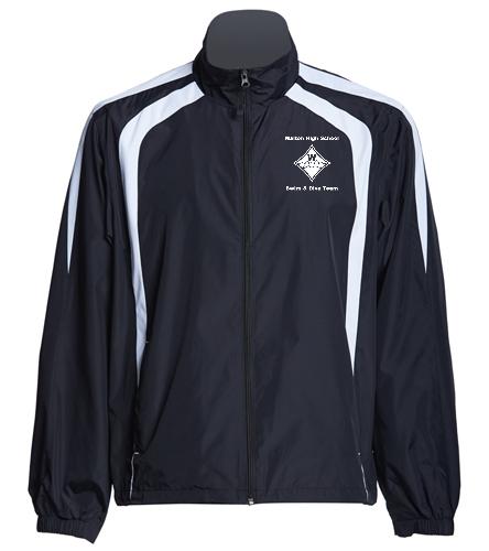 Walton White Swim & Dive Logo Embroidered  in Black and White - SwimOutlet Unisex Warm Up Jacket
