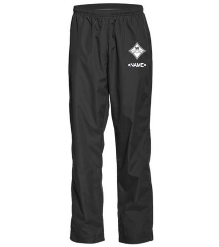 Walton White Diamond Logo in Black and White Embroidered  - SwimOutlet Unisex Warm Up Pant