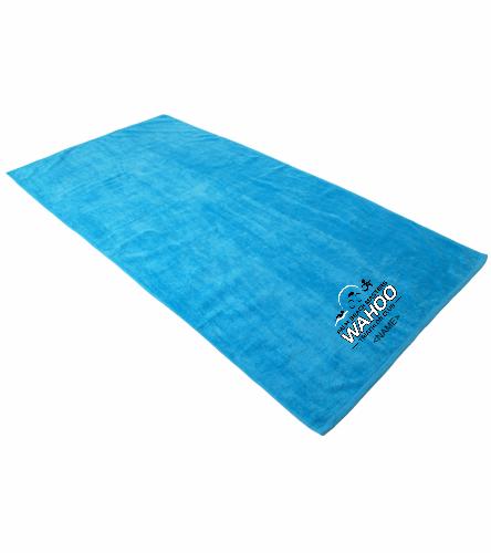 WAHOO Triathlon Club Turquoise - Royal Comfort Terry Velour Beach Towel 32 X 64