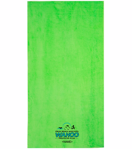 WAHOO Triathlon Club Lime - Royal Comfort Terry Velour Beach Towel 32 X 64