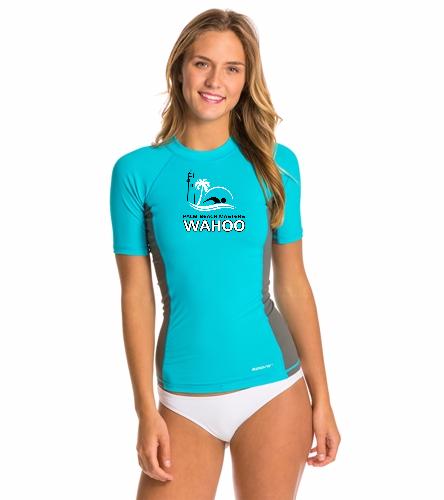 PBM AquaBlue/Grey - Sporti Women's S/S UPF 50+ Sport Fit Rash Guard