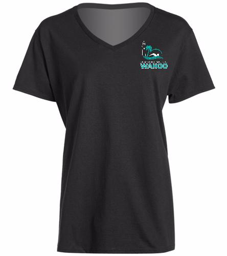 PBM Black - SwimOutlet Women's Cotton V-Neck T-Shirt