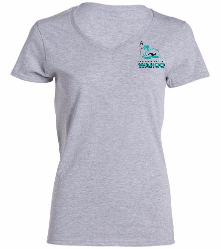 PBM Grey - SwimOutlet Women's Cotton V-Neck T-Shirt