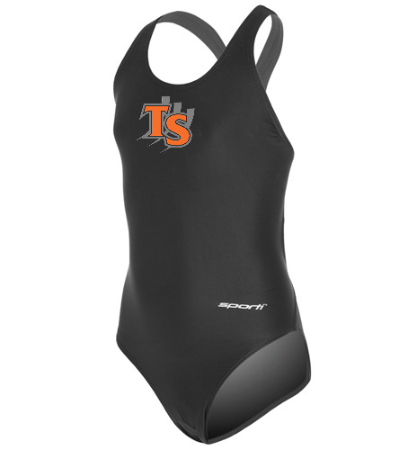 With Team Logo  - Sporti Solid Wide Strap One Piece Swimsuit Youth (22-28)
