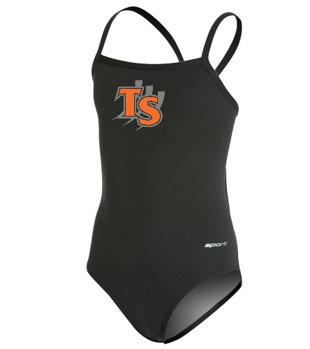 With Team Logo  - Sporti Poly Pro Solid Thin Strap One Piece Swimsuit Youth (22-28)