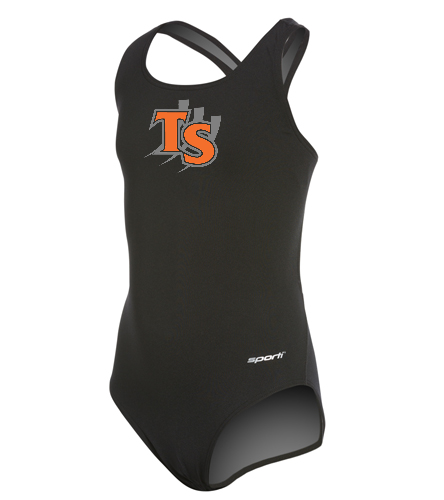With Team Logo  - Sporti Poly Pro Solid Wide Strap One Piece Swimsuit Youth (22-28)