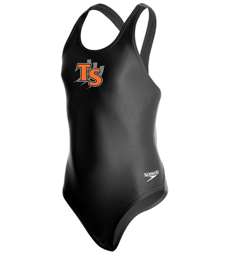 With Team Logo  - Speedo PowerFLEX Eco Solid Super Pro Youth Swimsuit