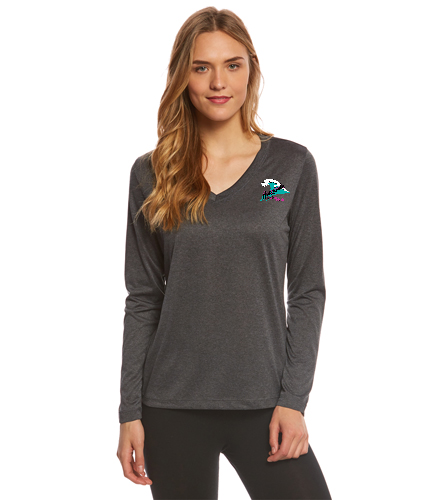 Women's gray long sleeve tech t-shirt - SwimOutlet Women's Long Sleeve Tech T Shirt
