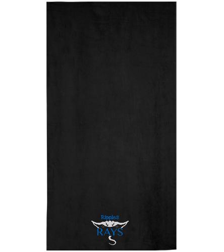 Black Rays Team Towel  - Royal Comfort Terry Velour Beach Towel 32 X 64