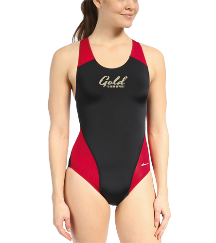 gold team suit dolfin  - Ocean Racing by Dolfin Color Block Performance Back One Piece Swimsuit