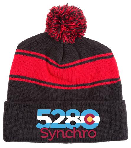 5280 Winter Hat - SwimOutlet Stripe Pom Pom Beanie
