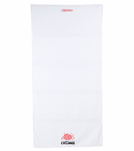 Cyclones White Towel  - Royal Comfort Terry Velour Beach Towel 32 X 64