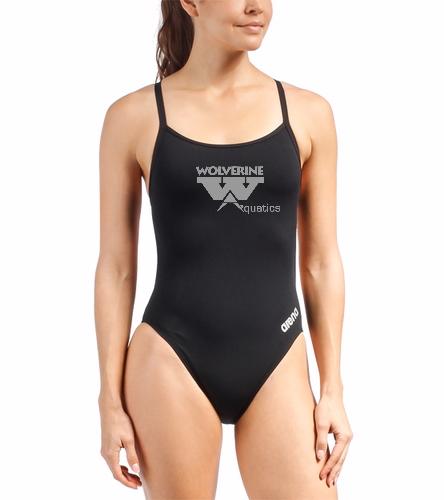 WAC Female Thin Strap - Arena Women's Mast MaxLife Thin Strap Open Racer Back One Piece Swimsuit